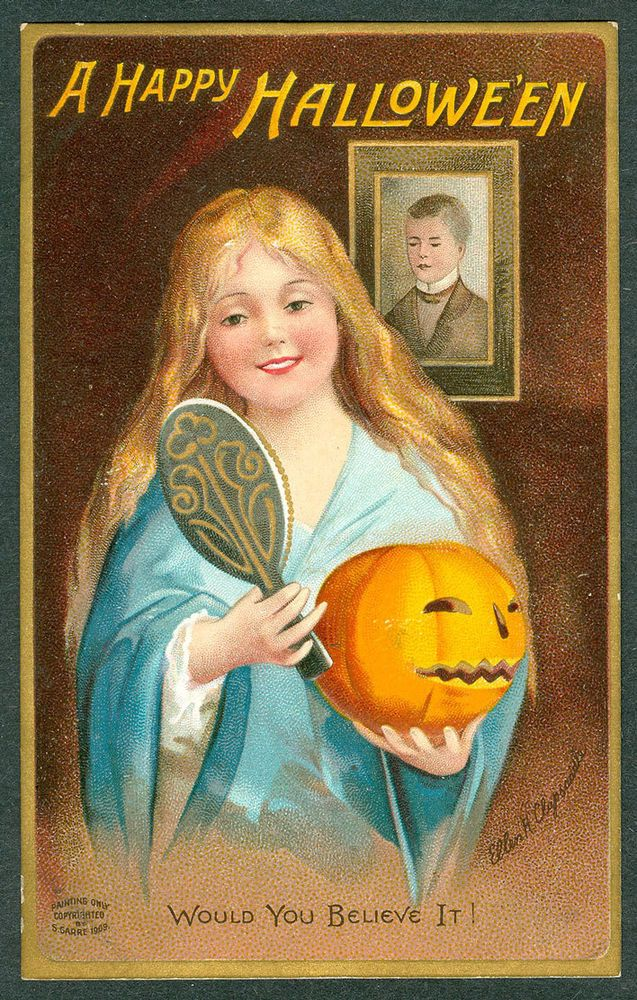 Some of the most popular cards were by the artists Ellen Clapsaddle (above), Samuel Schmucker, and Frances Brundage. This card shows the old tradition of seeing the man you'll marry in the mirror if you aim it over your shoulder on Halloween.
