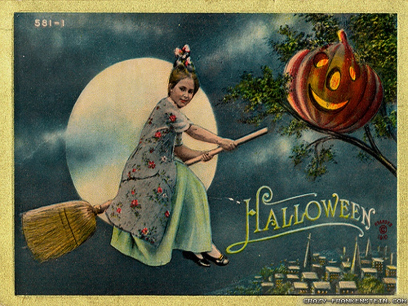 "Postcards got ""big"" during the Victorian era. Most of the fun Halloween cards I've found date from the early 1900s."